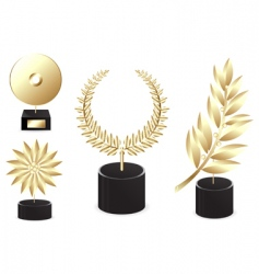 set of golden awards vector image vector image