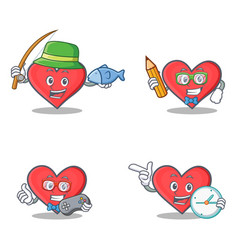 Set of heart character with fishing student gamer vector