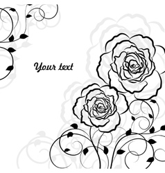 Simple floral background in black isolated on vector image vector image