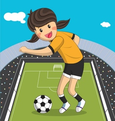 Sport player cartoon character girl soccer player vector