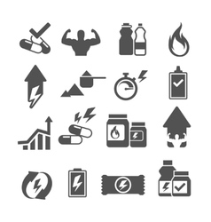 Sport supplements effects icons vector image vector image