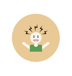 stylish icon in color circle man headache vector image vector image