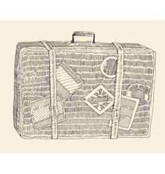 Suitcase luggage engraved retro hand drawn sketch vector