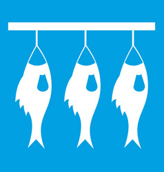 Three dried fish hanging on a rope icon white vector