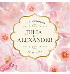 Watercolor flowers wedding invitation vector