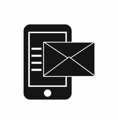 Smartphone with envelope icon simple style vector