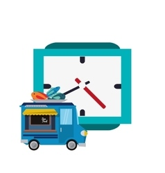 Watch and seafood truck icon vector