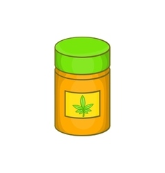 Medical marijua bottle icon cartoon style vector