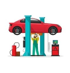 Car repair shop station repairman auto vector