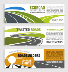 Highway road or motorway banners set vector