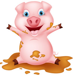 Pig cartoon playing with mud vector