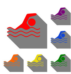 swimming water sport sign set of red orange vector image