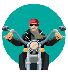 Biker wearing leather clothes with grey long beard vector
