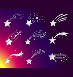 white stars or falling comets icons vector image