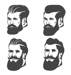 Set of the bearded mans head isolated on white vector