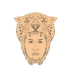 Female aztec warrior jaguar headdress drawing vector