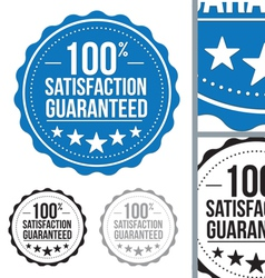 Blue satisfaction guaranteed seal stamp design vector