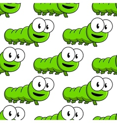Seamless pattern of cartoon green caterpillars vector image
