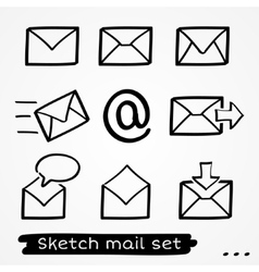 Mail sketch set vector image