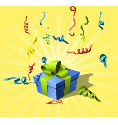 Flying confetti and gift box vector