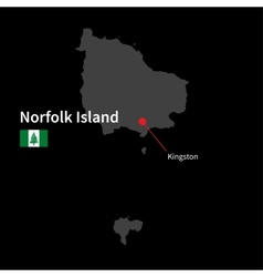 Detailed map of norfolk island and capital city vector