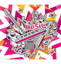Red and yellow set of musical instruments vector
