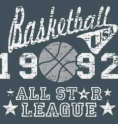 Basketball all star league artwork typography vector