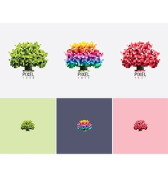 Colorful pixel style tree logo vector