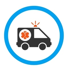 Ambulance car rounded icon vector