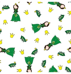 Frog prince pattern vector image
