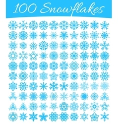 Set of 100 snowflakes vector