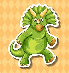 Green dinosaur on orange background vector