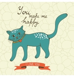 You make me happy cute hand drawn card with a cat vector