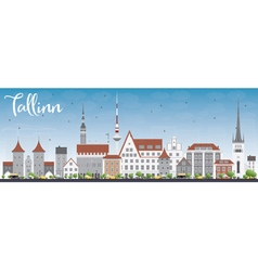 Tallinn skyline with gray buildings vector
