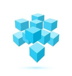 Blue cube icon Logo template vector image vector image
