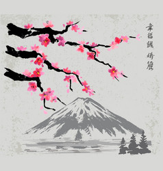 branches and fujiyama mountain vector image