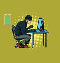 caucasian hacker thief hacking into a computer vector image vector image
