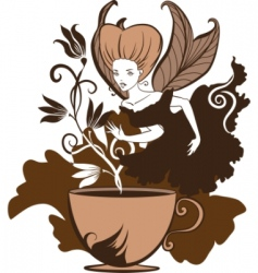 coffee fairy vector image vector image