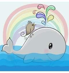 Cute cartoon whale and a bird vector