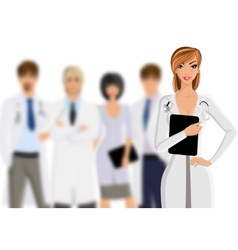 Doctor with medical staff vector image