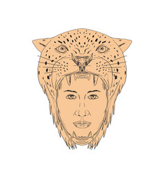 Female aztec warrior jaguar headdress drawing vector