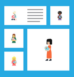Flat icon mam set of mother woman baby and other vector