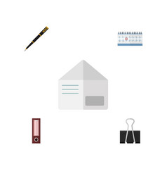flat icon tool set of letter date block paper vector image vector image