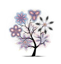 Floral art tree for your design vector image vector image