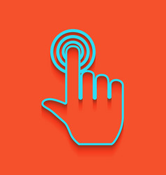Hand click on button whitish icon on vector