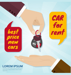 hand giving car key to buyer rental or sale vector image vector image