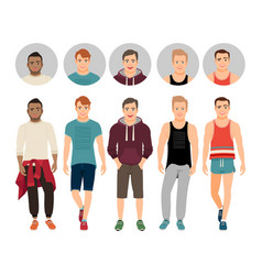 Handsome guys in casual fitness style vector