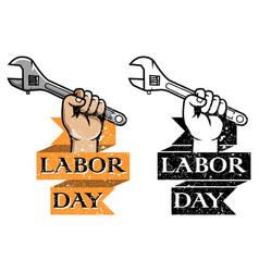 Hold wrench labor day badge vector
