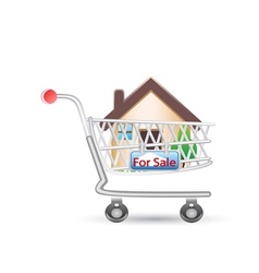 house in shopping cart vector image vector image