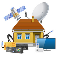 House with satellite equipment vector